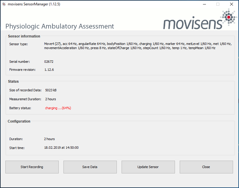 Screenshot of the main screen of movisens Sensor Manager 1.12.5